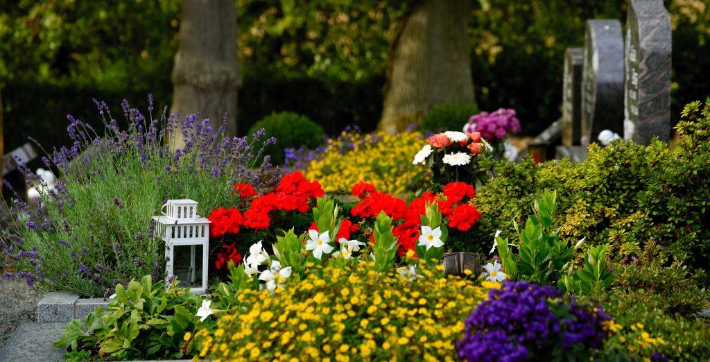 Eine von verschiedenen Blumen bedeckte Grabstätte